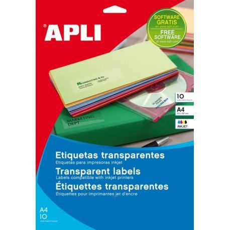 APLI 10050 Прозрачни, полиестерни етикети за печат на мастиленоструен принтер с фотокачество