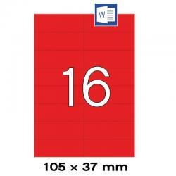 APLI 01597 Червени самозалепващи етикети 105х37мм