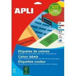 APLI 01599 Жълти самозалепващи етикети 210х297мм