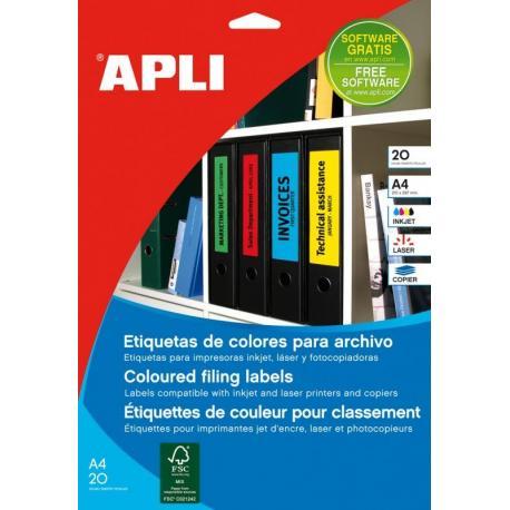 APLI 01374 цветни принтерни етикети за папки и класьори