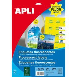 APLI 10370 Флуоресцентно жълти самозалепващи етикети Ф35мм за лазерен принтер