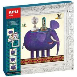 """Комплект """"Малък художник"""" 3 картини - Животни - слон, котка, кит."""