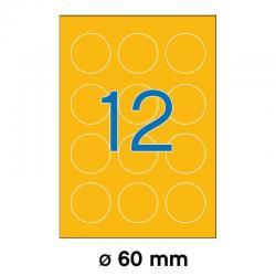 APLI 02867 Флуоресцентно оранжеви самозалепващи етикети Ф60мм за лазерен принтер