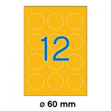 APLI 02867-флуоресцентни, оранжеви, кръгли, самозалепващи етикети