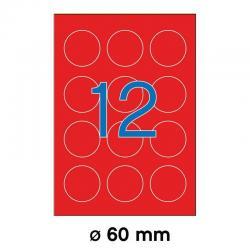 APLI 02868 Флуоресцентно червени самозалепващи етикети Ф60мм за лазерен принтер