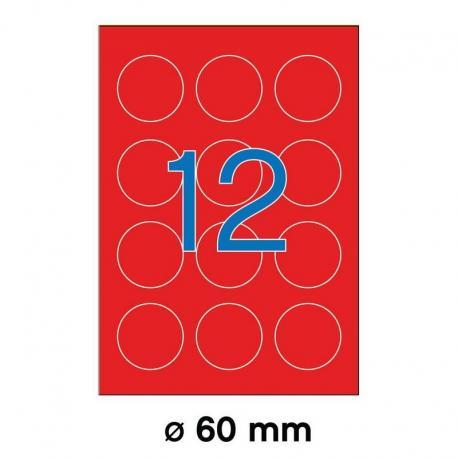 APLI 02868-флуоресцентни, червени, кръгли, самозалепващи етикети