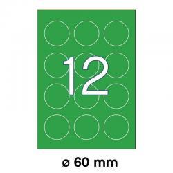 APLI 02869 Флуоресцентно зелени самозалепващи етикети Ф60мм за лазерен принтер