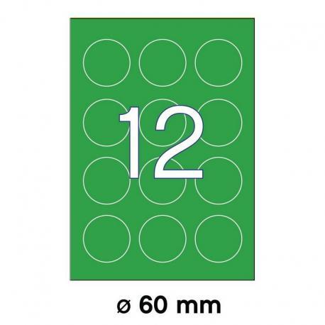 APLI 02869-флуоресцентни, зелени, кръгли, самозалепващи етикети