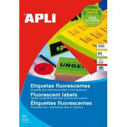 APLI 11750 Флуоресцентно зелени самозалепващи етикети, 100 листа A4