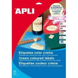 APLI 11798 Кремави самозалепващи етикети 70х20мм