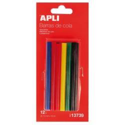 Apli 13739 Цветни силиконови пръчки за пистолет за топло лепене, ∅ 7.5 x 100 mm - 12 броя.