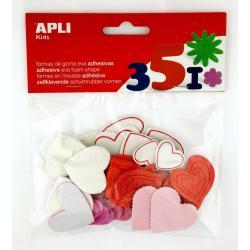 APLI 13283 Самозалепващи блестящи сърца EVA 52 бр.