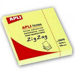 APLI 12078 жълти самозалепващи Z-листчета за бележки