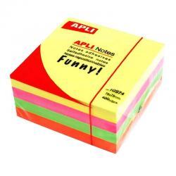 APLI 10974 кубче самозалепващи листчета в 4 ярки, неонови цвята