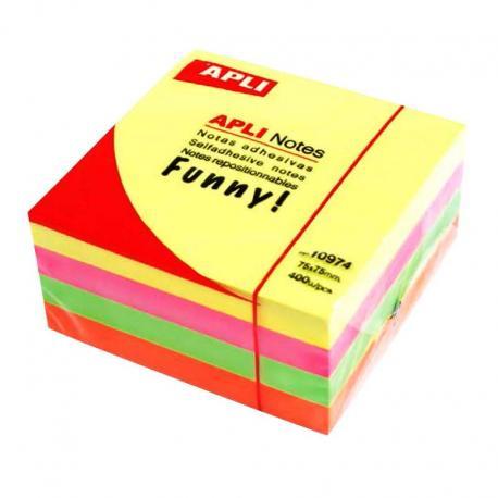 APLI кубче лепящи листчета за бележки в четири ярки, неонови цвята