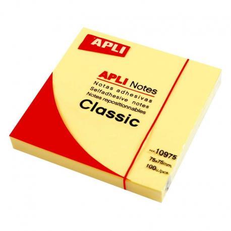 APLI 10975 жълти самозалепващи листчета 100 броя, 75 x 75 мм