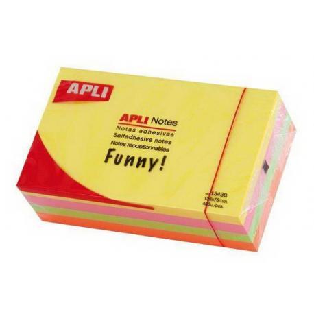 APLI 13438 кубче с 400 самозалепващи листчета 125 x 75 mm,  в 4 неонови цвята