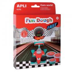 Състезателна кола + 3D сцена писта - творчески комплект - игра с вълшебното тесто на APLI Kids