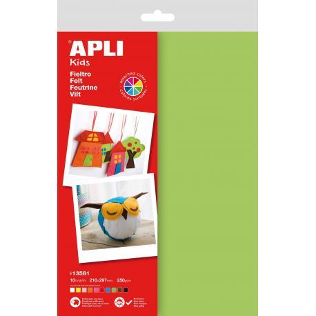 Филц на листи А4 - комплект от 5 цвята