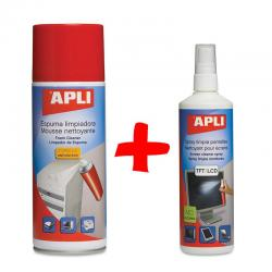APLI Комплект Спрей за почистване на екрани + Почистваща пяна