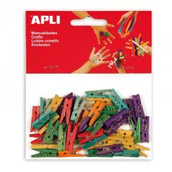 APLI 13479 Цветни дървени мини щипки, 45 бр.