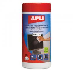 APLI 11302 Антистатични, влажни почистващи кърпички за LCD, TFT екрани, монитори, телевизори-100 бр. в туба