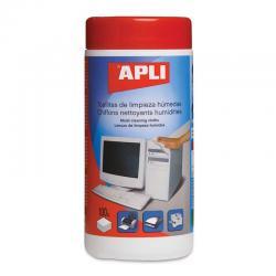 APLI 11301 Универсални, влажни почистващи кърпички за офис техника.  100 бр. в туба