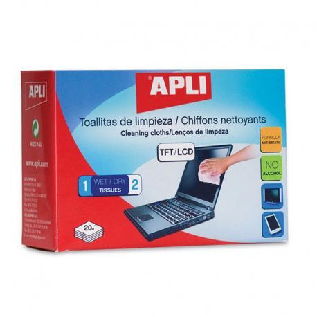 APLI 11325 Суха + мокра почистващи кърпички за екрани