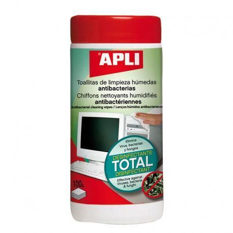 APLI 12083 Антибактериални почистващи кърпички за офис техника , 100 бр. в туба