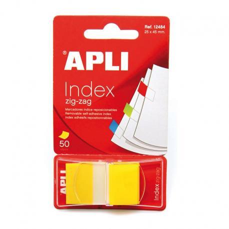 APLI самозалепващи, хартиени разделители зиг заг - жълти