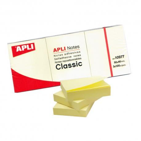 APLI 10977 жълти самозалепващи листчета за малки бележки - 300 броя, 38 x 51 мм