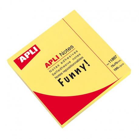 Самозалепващи листчета APLI - неоново жълти