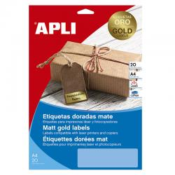 APLI 14888 Златисти, метализирани, водоустойчиви, полиестерни етикети