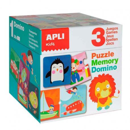 Комплект 3 детски игри: Пъзел, Мемори, Домино