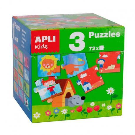 Комплект 3 детски пъзела - животни, къща, сезони, 72 части, 7 х 7 см.