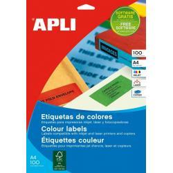 APLI 11838 Цветни жълти самозалепващи етикети, 100 листа A4