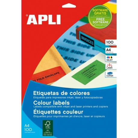 APLI 11838-цветни, жълти, самозалепващи етикети, 100 листа, A4