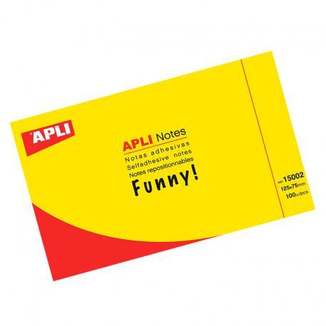 APLI Самозалепващи листчета 125x75мм, 100бр - жълто