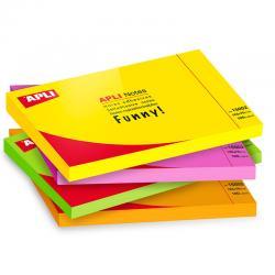 APLI Самозалепващи листчета 125x75мм, 100бр - неонови цветове