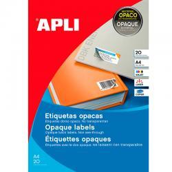 APLI 11709 Плътни бели принтерни етикети 210х297мм, 20 листа