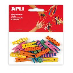 APLI 13480 Дървени малки щипки с принт, 20 бр.