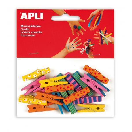 APLI 13480 Цветни дървени щипки с принт, 20 бр.
