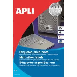 APLI 12974 Сребристи, метализирани, водоустойчиви, полиестерни етикети