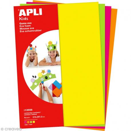 APLI Kids 13556  - EVA гума, комплект 4 неонови цвята 200х300х2mm