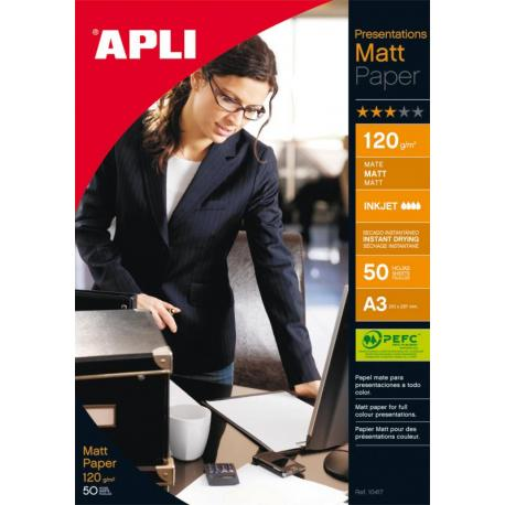 APLI 04462 Фотохартия мат - формат A3, 120 g/m² - 50 листа