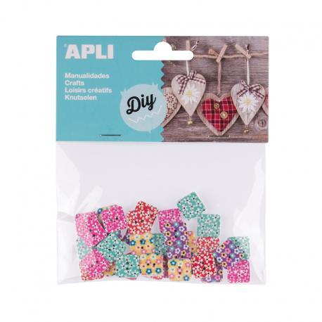 APLI 13481 Цветни дървени копчета, 30 бр.
