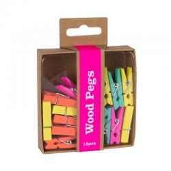 Цветни дървени щипки за документи 15 броя