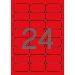 APLI 02872 Флуоресцентно червени самозалепващи етикети 64х33,9мм  за лазерен принтер