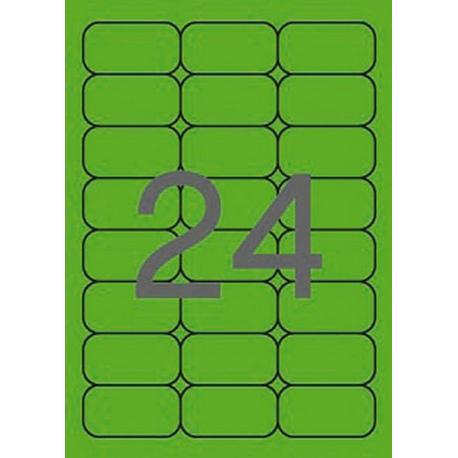 APLI 02873 Флуоресцентно зелени самозалепващи етикети 64х33,9мм за лазерен принтер