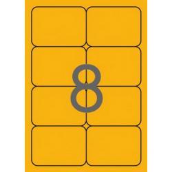 APLI 02875 Флуоресцентно оранжеви самозалепващи етикети 99,1х67,7мм за лазерен принтер
